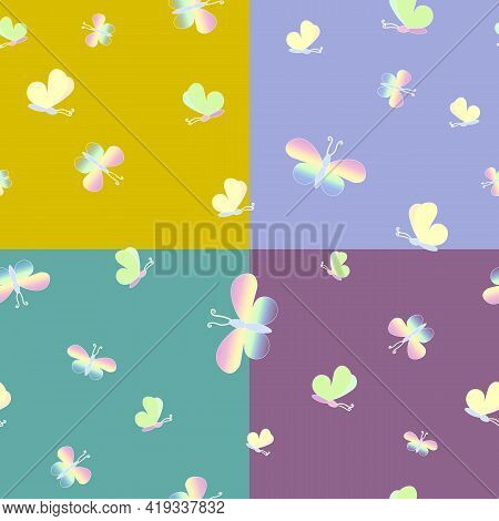 Delicate Multicolored Butterflies A Seamless Pattern On 4 Backgrounds