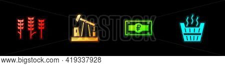 Set Wheat, Oil Pump Or Pump Jack, Russian Ruble Banknote And Sauna Bucket Icon. Vector