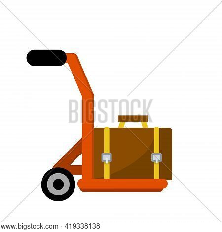 Handcart With Suitcase. Transportation Service At Airport Or Hotel. Trolley With Luggage. Pushcart W
