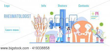 Rheumatoid Arthritis. Tiny Doctors Treat Rheumatism, Osteoarthritis, Make Ultrasound, X Ray. World A
