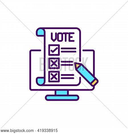 Online Voting Rgb Color Icon. Civic Participation Through Internet. E Voting For Political Campaign.