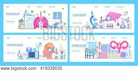 Pulmonologist, Phthisiologis, Gynecologist Concept Vector For Medical Landing Page. Liver Biopsy Ill