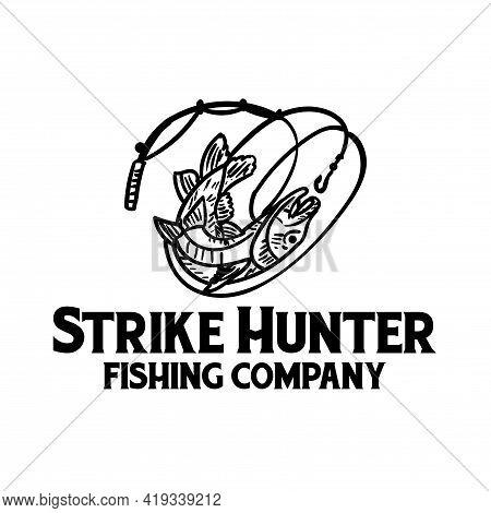 Strike Hunter Fishing Logo Vector. Illustration Fishing Hunter.