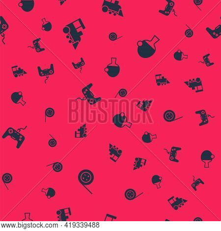 Set Yoyo Toy, Toy Train, Gamepad And Racket And Ball On Seamless Pattern. Vector