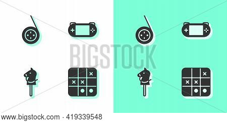 Set Tic Tac Toe Game, Yoyo Toy, Toy Horse And Portable Video Console Icon. Vector