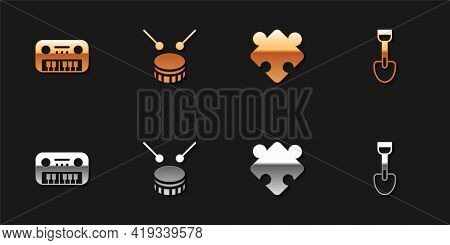 Set Toy Piano, Drum With Drum Sticks, Puzzle Pieces Toy And Shovel Icon. Vector