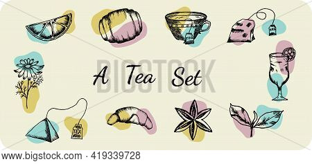 Tea Set Icons In Doodle Style. Tea Bags, Chamomile, Tea Mug And Glass, Lemon Wedge, Special Anise, B