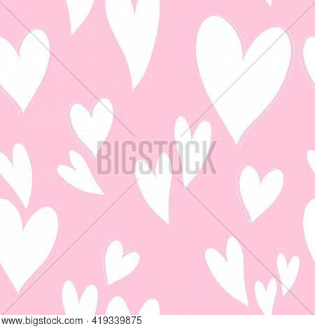 Cute Pink Hearts Pattern, Romantic Print. Love Texture, Seamless Pattern For Valentine's Day - Roman