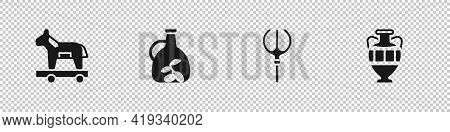 Set Trojan Horse, Bottle Of Olive Oil, Neptune Trident And Ancient Amphorae Icon. Vector