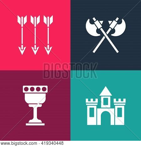 Set Pop Art Castle, Fortress, Medieval Goblet, Crossed Medieval Axes And Arrows Icon. Vector
