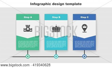 Set Castle, Fortress, King Crown And Location King. Business Infographic Template. Vector