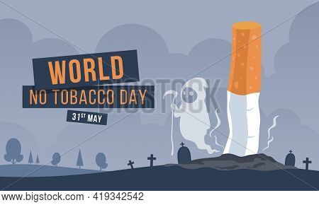 World No Tobacco Day With Cigarette Butts And Devil Smoke In The Cemetery Vector Design