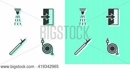 Set Fire Hose Reel, Sprinkler, Metal Pike Pole And Exit Icon. Vector