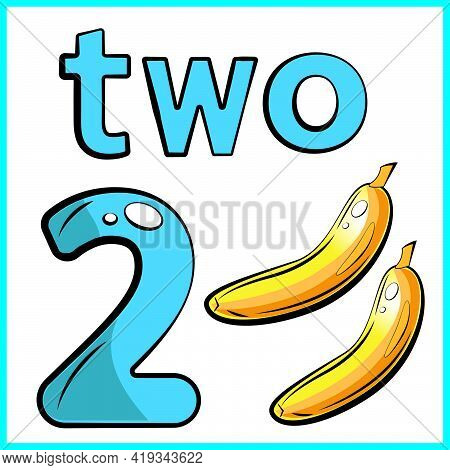 Two Bananas, Color Card, The Child Learns Math, Counts The Number Of Fruits, The Concept Of Educatio