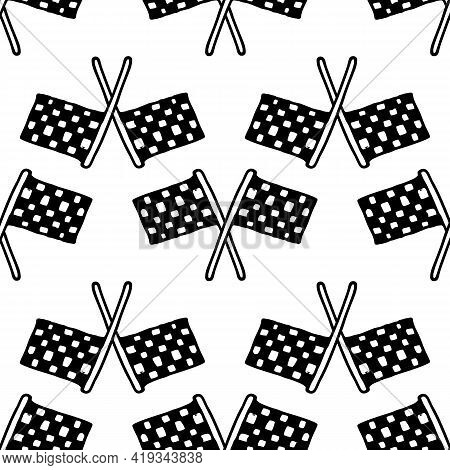 Vector Seamless Pattern Of Crossed Checkboxes With A Checkerboard Pattern. Hand-drawn Doodle Style T