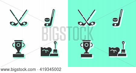 Set Shovel In Snowdrift, Ice Hockey Sticks, Award Cup And And Puck Icon. Vector