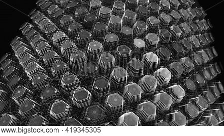 Futuristic Animation With Hexagons. Animation. Many 3d Hexagons In Cyberspace Form Texture. Hexagons