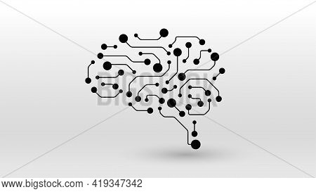 Brain Circuit Board Ai Tech Concept Dot Line Elements Icon