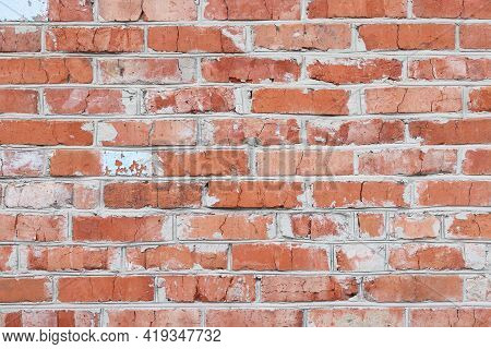 Wall Of Bright Old Red Brick As Beautiful Loft-style Background For Modern Interior Design And Exter