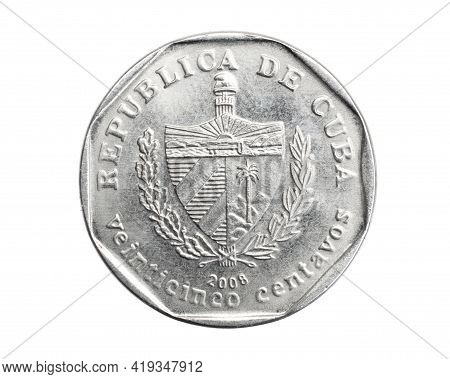 Cuba Twenty Five Centavo Coin On White Isolated Background