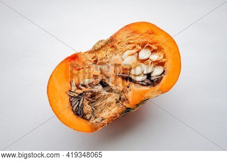 A Raw, Ripe Pumpkin Cut In Half, Pies Is Rotten With Fungus On A White Background.