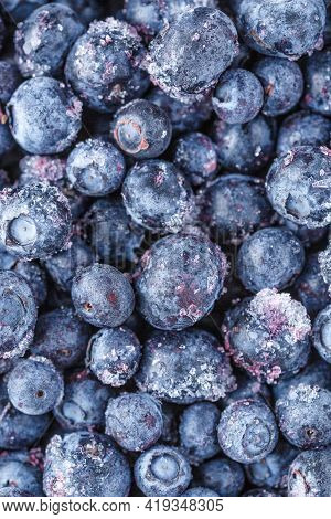 Frozen Blueberries Background.water Drops On Ripe Sweet Blueberry. Fresh Blueberries Background With
