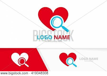 Vector Heart And Loupe Logo Combination. Magnifying Glass Logotype Design Template.