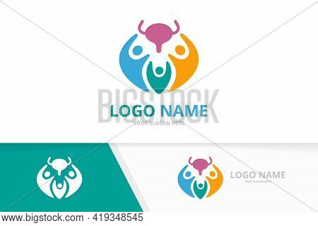Vector Bladder And People Logo Combination. Urinary Tract Logotype Design Template.