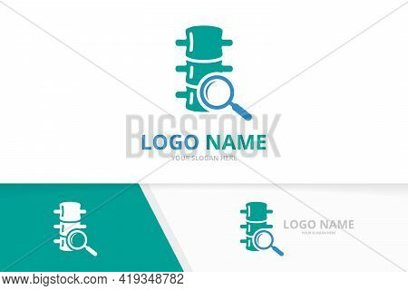 Spine And Loupe Logo Combination. Vertebral Column And Magnifying Glass Logotype Design Template.