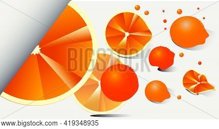 Surreal Background Fresh Oranges. Saturated Colors And Summer Mood