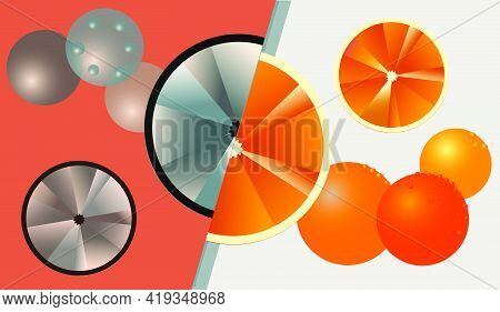 Abstract Background With Oranges. Saturated Paints. A Refined Combination Of Orange And Gray