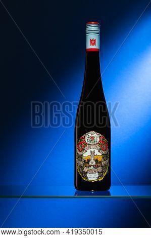 Prague,czech Republic -  24 March, 2021: Bottle Of Riesling From Joachim Flick Winery. The Joachim F