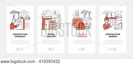 Construction Industry - Modern Line Design Style Web Banners