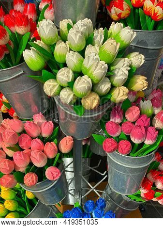 Wooden Tulips In The Shop In Volendam. Volendam Is A Town In North Holland, 20 Kilometres North Of A