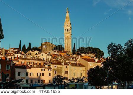 Rovinj,istria,croatia.view Of The Town Situated On The Coast Of Adriatic Sea.popular Tourist Resort