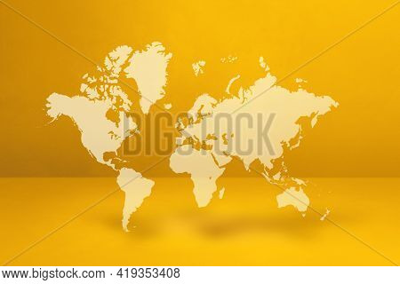 World Map Isolated On Yellow Wall Background. 3d Illustration