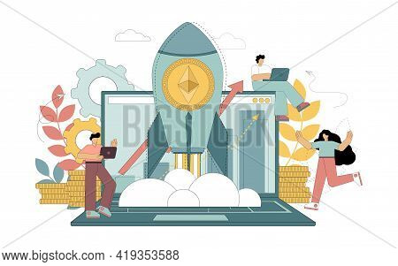 Ethereum Cryptocurrency. Rising Prices For Cryptocurrency. Eth Wealth. Cryptocurrency In A Rocket Sk