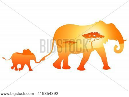 Running Silhouette Two Elephants With African Savannah. Cute Colorful  Big And Small Elephant On Whi