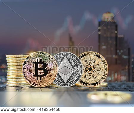 Bitcoin Btc Cryptocurrency Coin With Altcoin Digital Crypto Currency Tokens, Eth Ethereum, Ada Carda