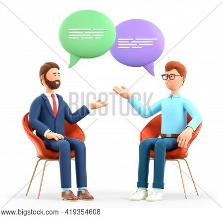 3d Illustration Of Two Men Meeting And Talking With Speech Bubbles. Happy Businessmen Characters Sit