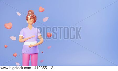 3D render of a mommy patting her infant baby with heart elements.