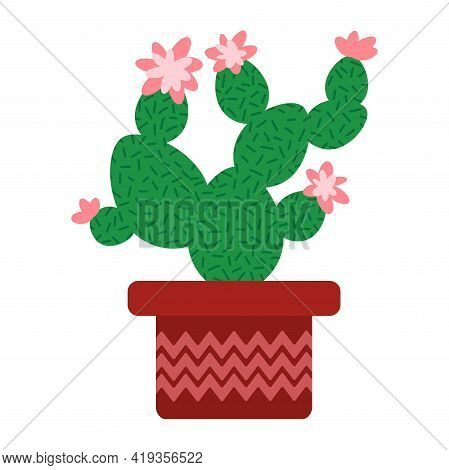 Blossom Cactus In Flowerpot White Isolated Stock Vector Illustration. Hand-drawn Green Prickly Textu