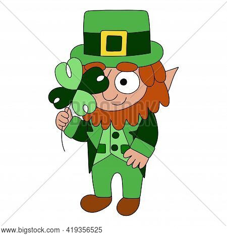 Funny Hand-drawn Cartoon Leprechaun In Green With Four-leaf Clover Stock Vector Illustration. Tradit