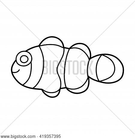 Clownfish Doodle Coloring Page For Children Stock Vector Illustration. Anemonefish Hand-drawn Black