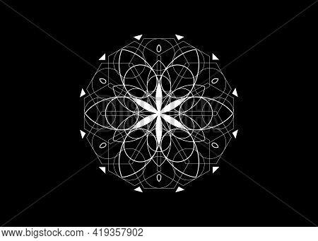 Flower Of Life Symbol Sacred Geometry. Logo Icon Geometric Mystic Mandala Of Alchemy Esoteric Seed O