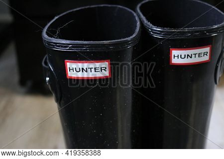 London Canada, May 04 2021: Editorial Illustrative Photo Of Hunter Boots Indoors. Hunters Are A High