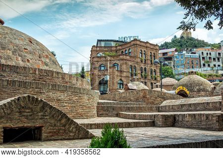 Tbilisi, Georgia - July 20, 2019: Cityscape - Abanotubani - District Of Old Town With Famous Thermal