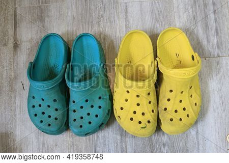 London Canada, May 04 2021 - Crocs Footwear With Pretty Shapes And Pretty Colors. A Common Comfort F