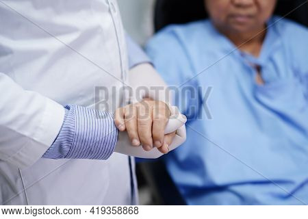 Holding Hands Asian Senior Or Elderly Old Lady Woman Patient With Love, Care, Encourage And Empathy