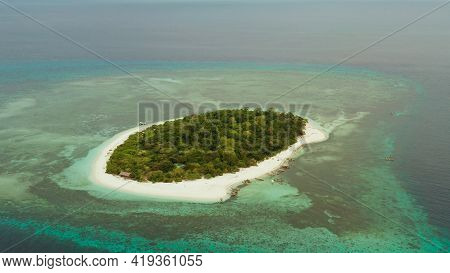 Tropical Island Mantigue And Sandy Beach Surrounded By Atoll Coral Reef And Blue Sea, Aerial View. S